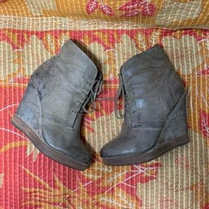 Michael Kors Ankle Boots Brown Suede Lace Up Wedge